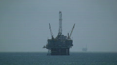 Oil Platform With Another Platform In Distance Stock Footage