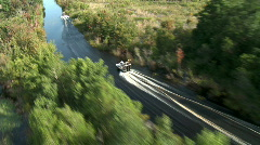 Aerial Airboats 2 In Channel - stock footage