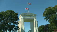 United States and Canada Border Crossing Park Monument Stock Footage