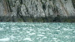 Glacial ice rock cliff from boat P HD 8323 Stock Footage