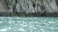 Stock Video Footage of Glacial ice rock cliff from boat P HD 8323