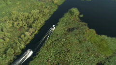 Aerial Airboats Channel Lake - stock footage