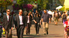 People, crowds walking, #3, Calgary, Alberta Stock Footage