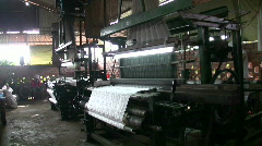 Women Worker Silk Textile Factory Production Line Machine Loom Weaving Mill Stock Footage