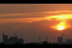 Silhouettes industrial district time lapse Stock Footage
