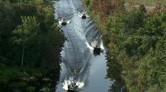 Aerial Airboats Two by Two - stock footage