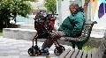 Handicap man on park bench Footage