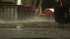 Rainy day at a restaurant, Bulgaria Stock Footage