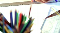 Pencils and line drawing Stock Footage