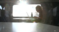 Stock Video Footage of Train Traveller in Silhouette