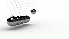 Newtons Cradle over white - seamless loop Stock Footage
