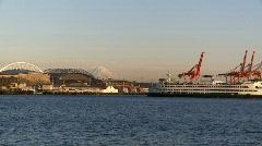 Ferry boat leaving Seattle Stock Footage