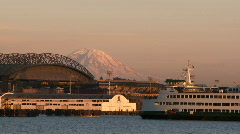 Ferry arriving at Seattle Stock Footage