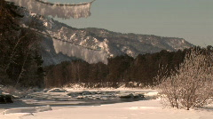 Winter river clear sky Stock Footage