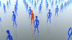 Mannequins, red is jumping, Alpha Stock Footage