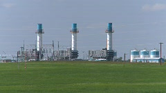 Oil & gas, gas compressors, rural Stock Footage