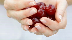 Fresh cherries in woman's hands. Close up. - stock footage