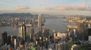 Stock Video Footage of Hong Kong City skyline in Twilight