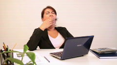 Tired businesswoman - stock footage