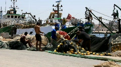 Harbour in the Sousse, Tunisia. Fishermen - stock footage