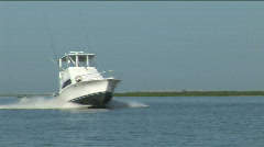 Fishing Boat on Lake Okeechobee Stock Footage