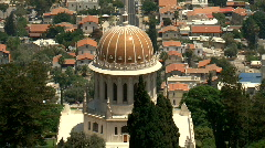Bahaim Temple Zoom Out to Haifa bay Stock Footage