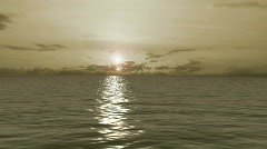 Sepia Golden Calm Ocean Sunrise Stock Footage