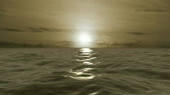 Sepia Golden Ocean Waves Sunrise Stock Footage