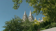LDS Temple Towers over the Trees 5 Stock Footage