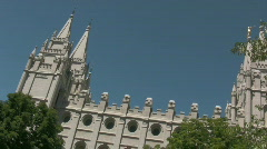 LDS Temple Towers over the Trees 4 Stock Footage