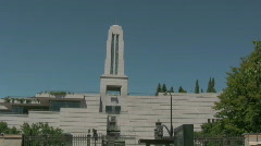 Water Fall on the LDS conference center Stock Footage