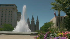 Water Fountain Shoots up in front of LDS Temple 3 Stock Footage