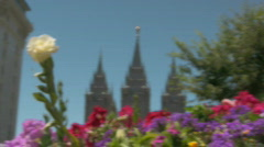 Flowers surround the LDS Templ in Utah Stock Footage