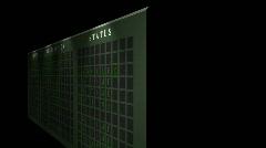 Airport flight destination board showing status - Light - Flickering Stock Footage