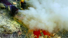 Sulfur mine at Ijen crater Stock Footage