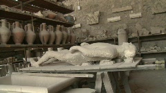 Pompei dead man in the Vesuvius eruption Stock Footage