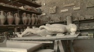Pompei dead man in the Vesuvius eruption Stock Footage