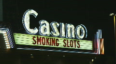 Casino sign at night Stock Footage