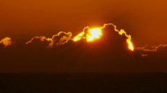 Close-up Sun Rise Over Ocean, Sunrise Time Lapse Stock Footage