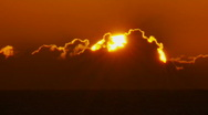 Stock Video Footage of Close-up Sun Rise Over Ocean, Sunrise Time Lapse