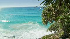 View of Beautiful Aqua Ocean from Coastal Cliffs, Pandanus Trees Stock Footage