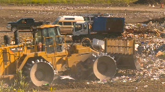 the environment, garbage dump, #4 and compactor - stock footage