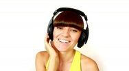 Stock Video Footage of Singing Headphones Girl