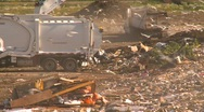 Stock Video Footage of the environment, garbage dump, #32 truck unloads