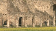 Pompei Palestra angle with columns Stock Footage