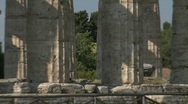 Stock Video Footage of Paestum Doric Temples zoom
