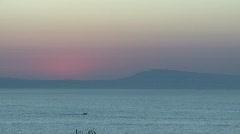 Mediterranean Sunset Motor Boat Stock Footage