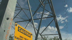 Electrical Tower Warnings Stock Footage