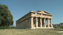Stock Video Footage of Paestum Doric Temple tilt Sky