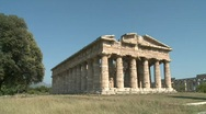 Stock Video Footage of Paestum Doric Temple tilt Sky